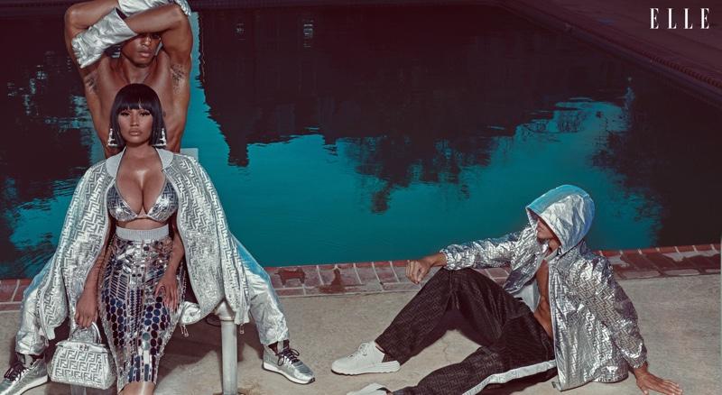 Shining in silver, Nicki Minaj wears Fendi Prints On designs