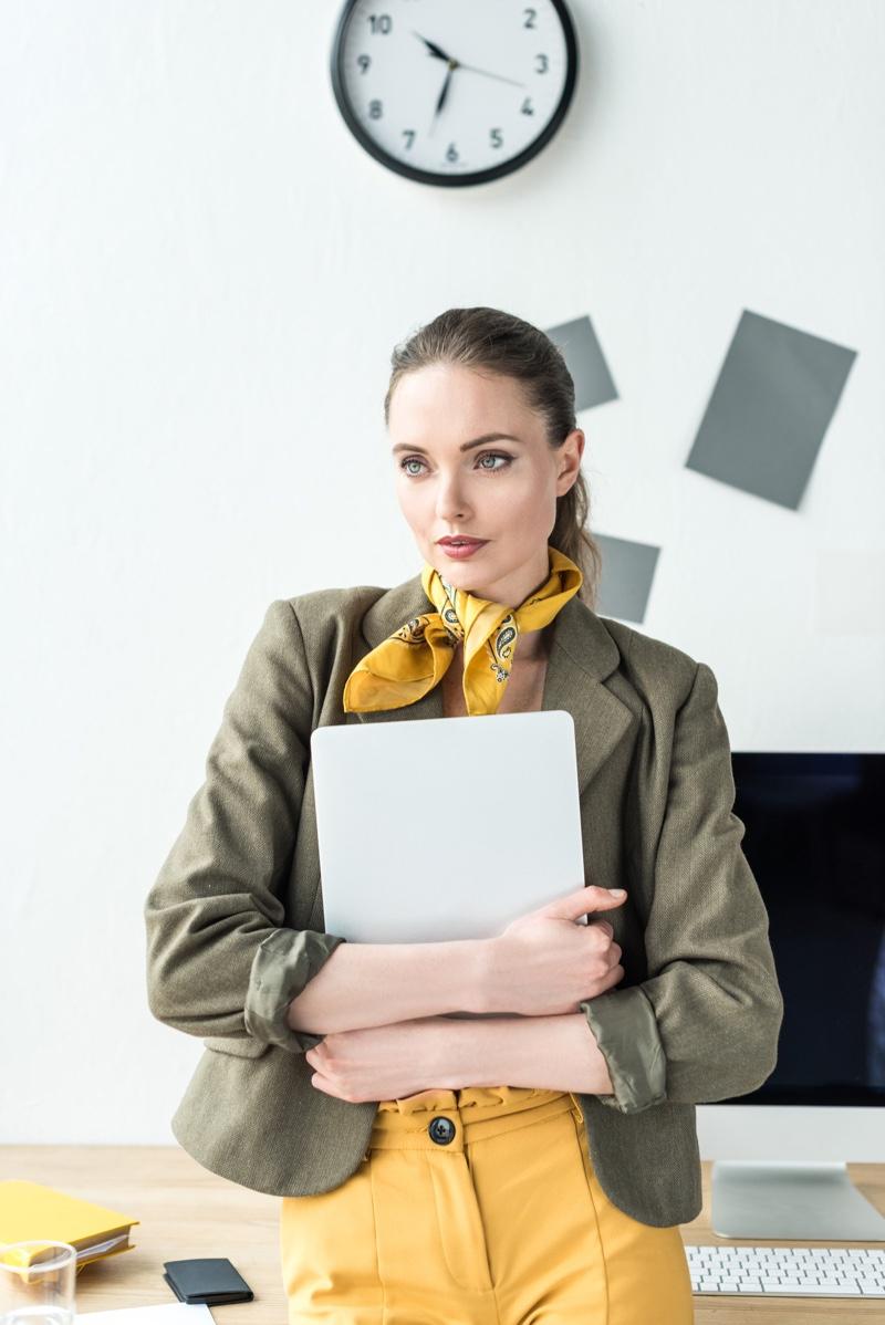 Office Fashion Model Scarf Jacket Pants Computer