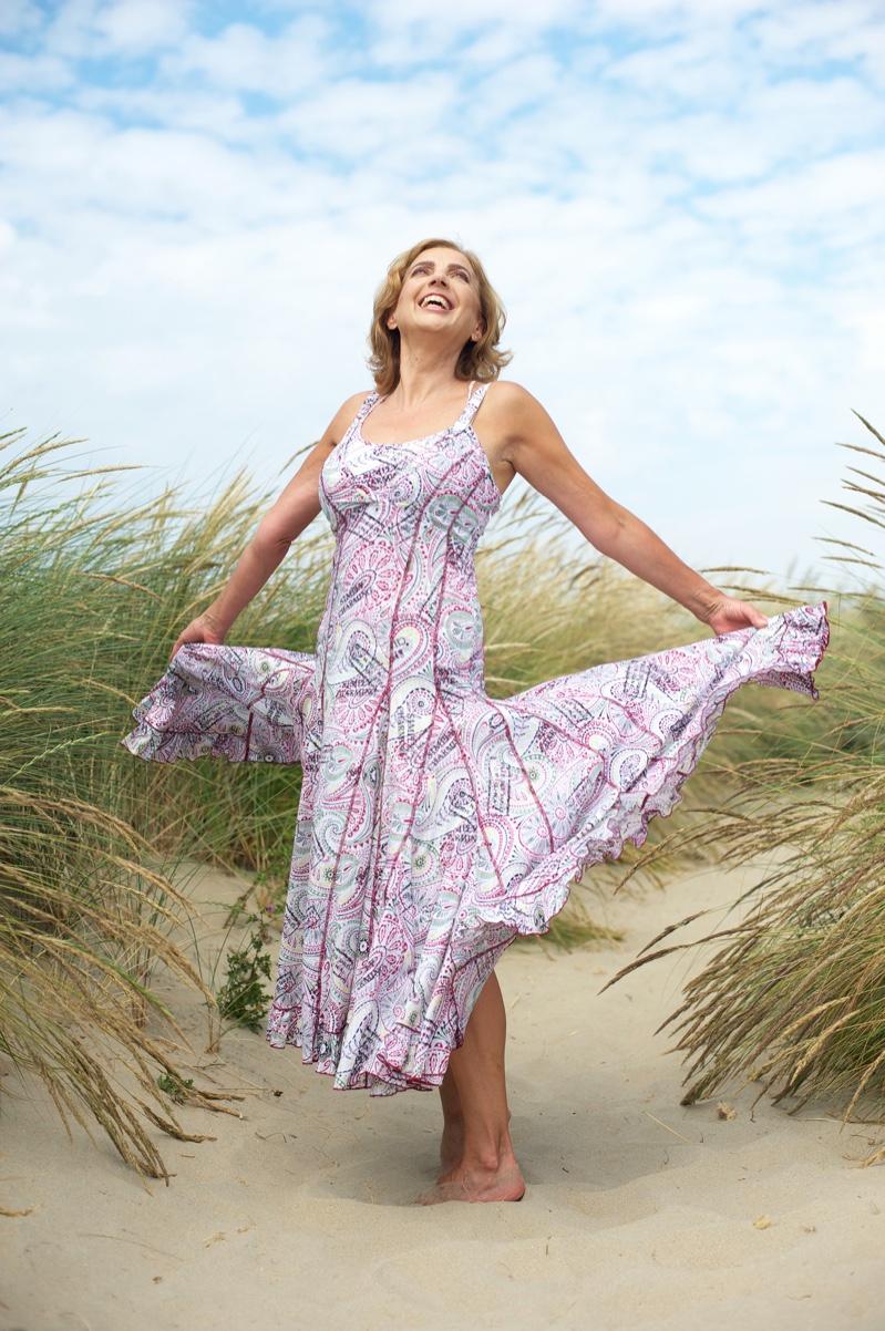 Older Woman Beach Print Dress