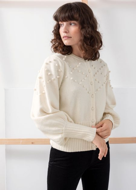 This wool and cotton blend cardigan features a bobble knit diamond pattern