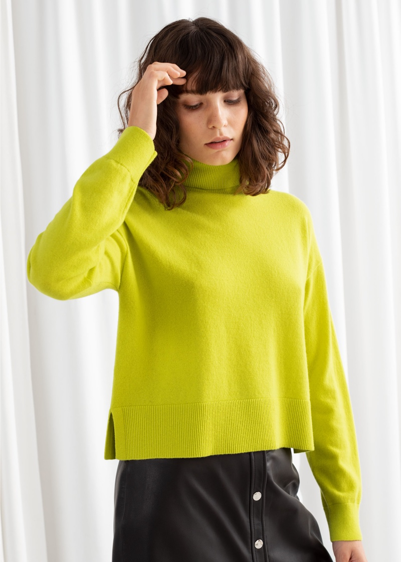 & Other Stories Cashmere Turtleneck Sweater in Neon Yellow $149
