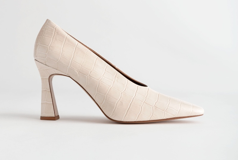 & Other Stories Croc Embossed Flared Heel Pumps $129