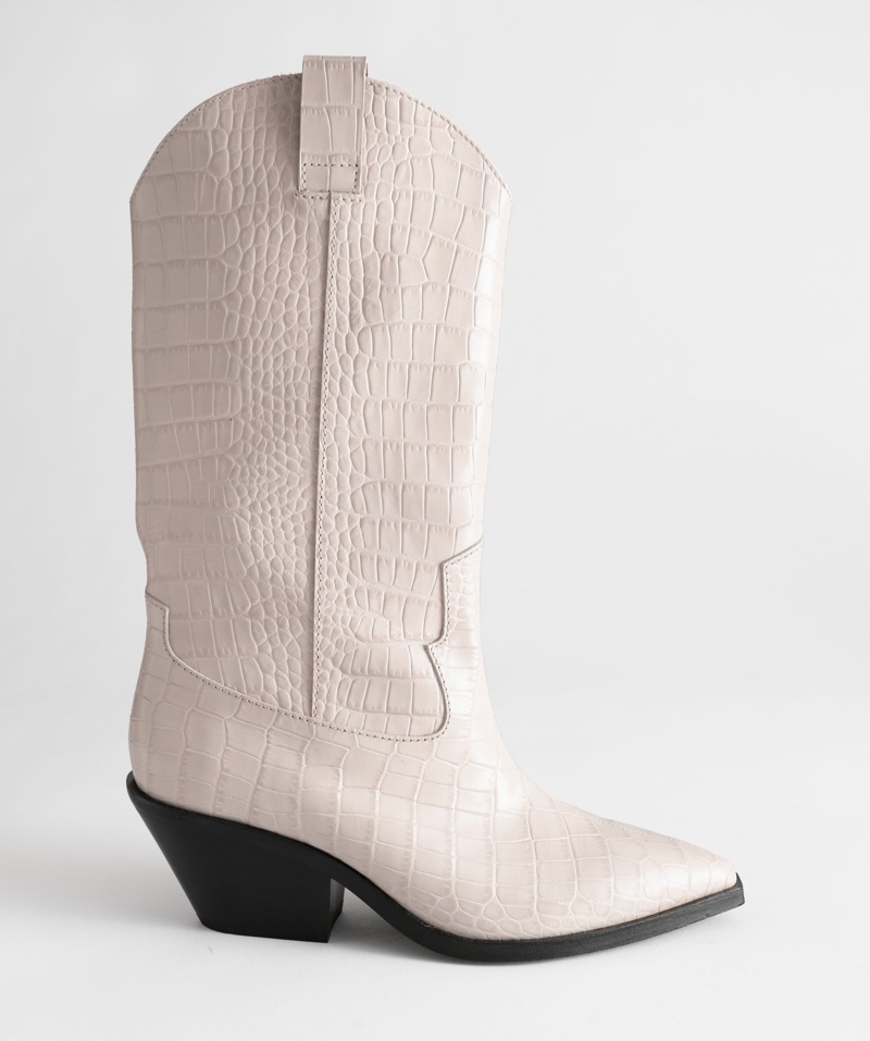 & Other Stories Croc Embossed Leather Cowboy Boots $279