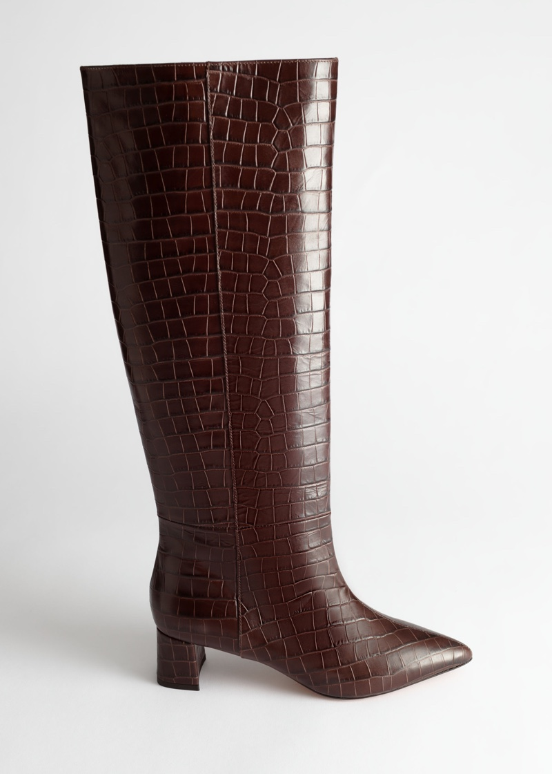 & Other Stories Croc Leather Knee High Boots $279