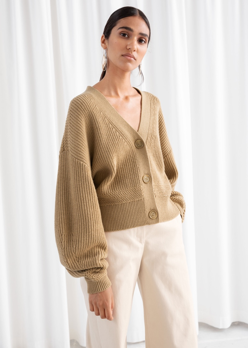 & Other Stories Cropped Cardigan in Camel $99