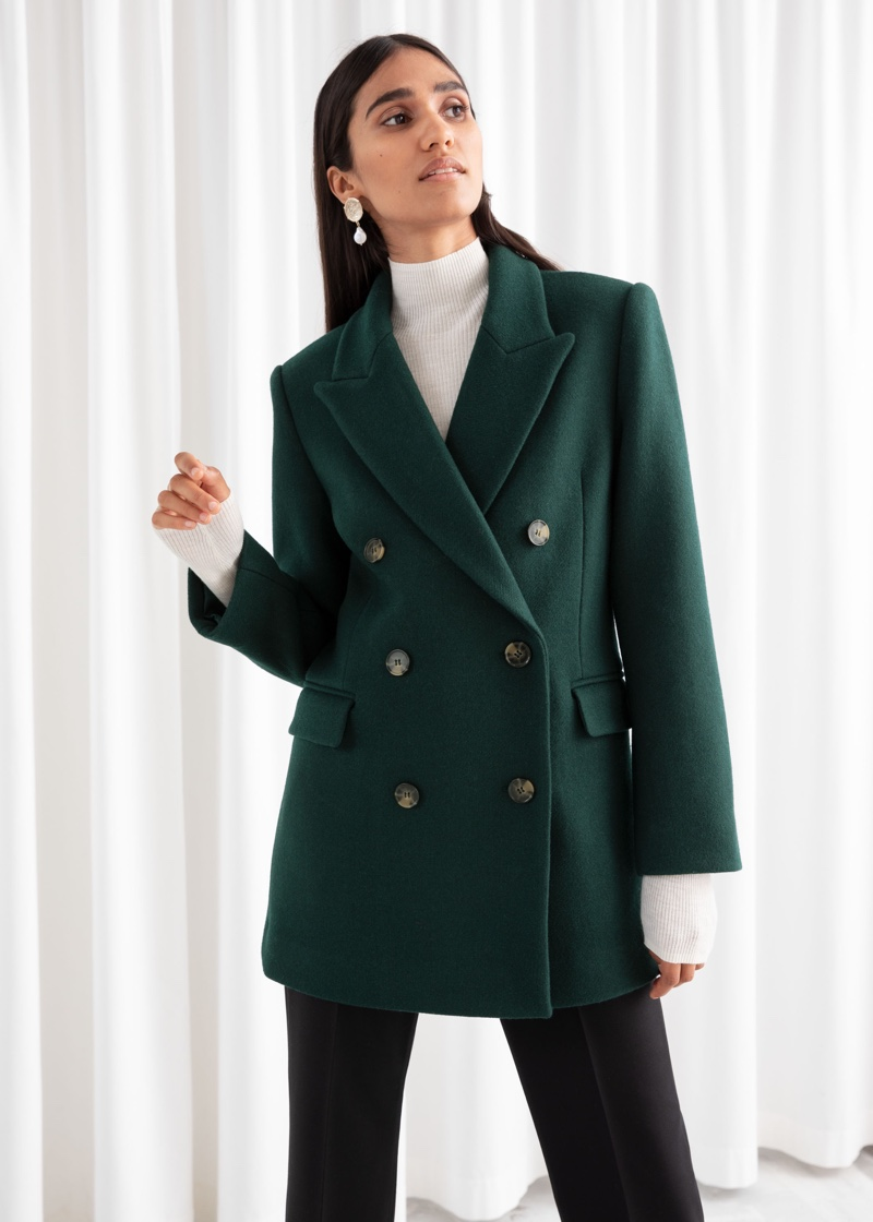 & Other Stories Double Breasted Wool Blend Jacket $179