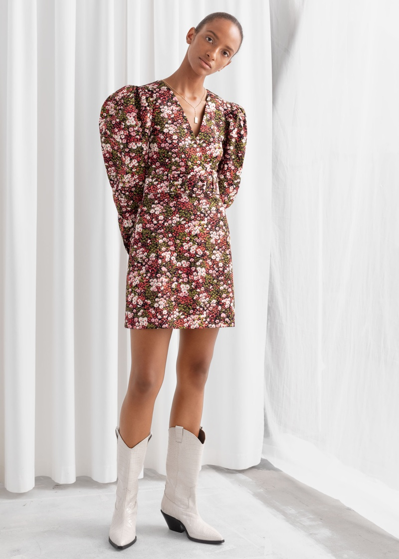 & Other Stories Floral Puff Sleeve Mini Dress $119
