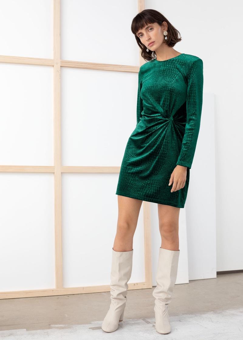 & Other Stories Glitter Velour Mini Dress in Dark Green $69