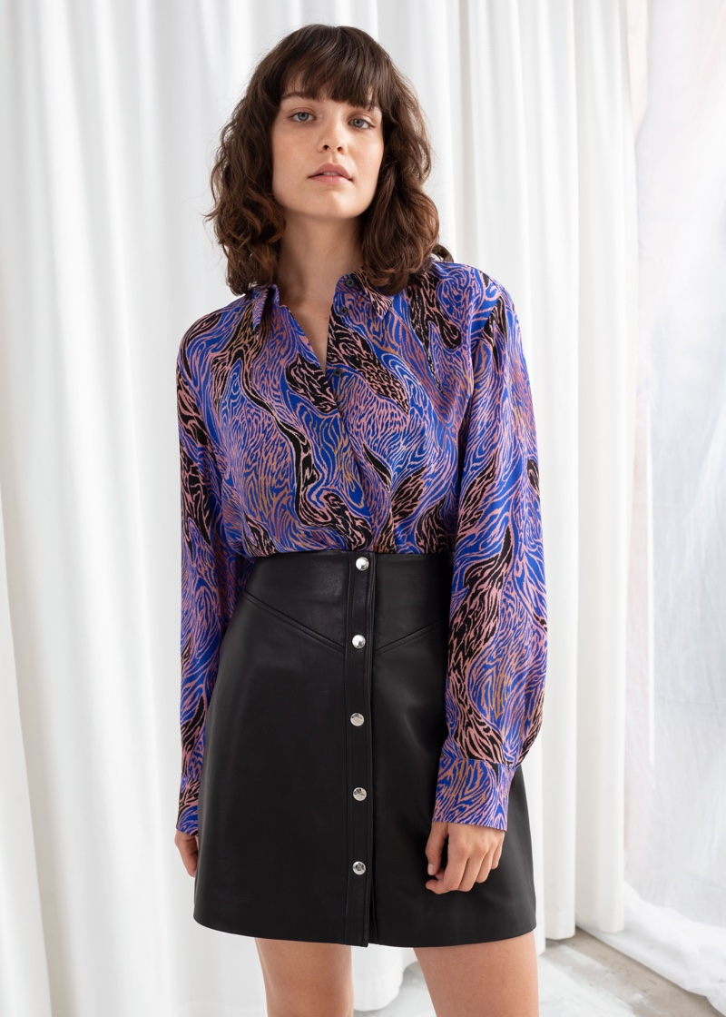 & Other Stories Graphic Print Button Up Shirt $89