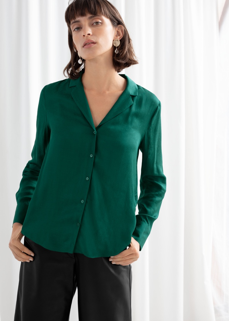 & Other Stories Jacquard Button Up Blouse in Dark Green $59
