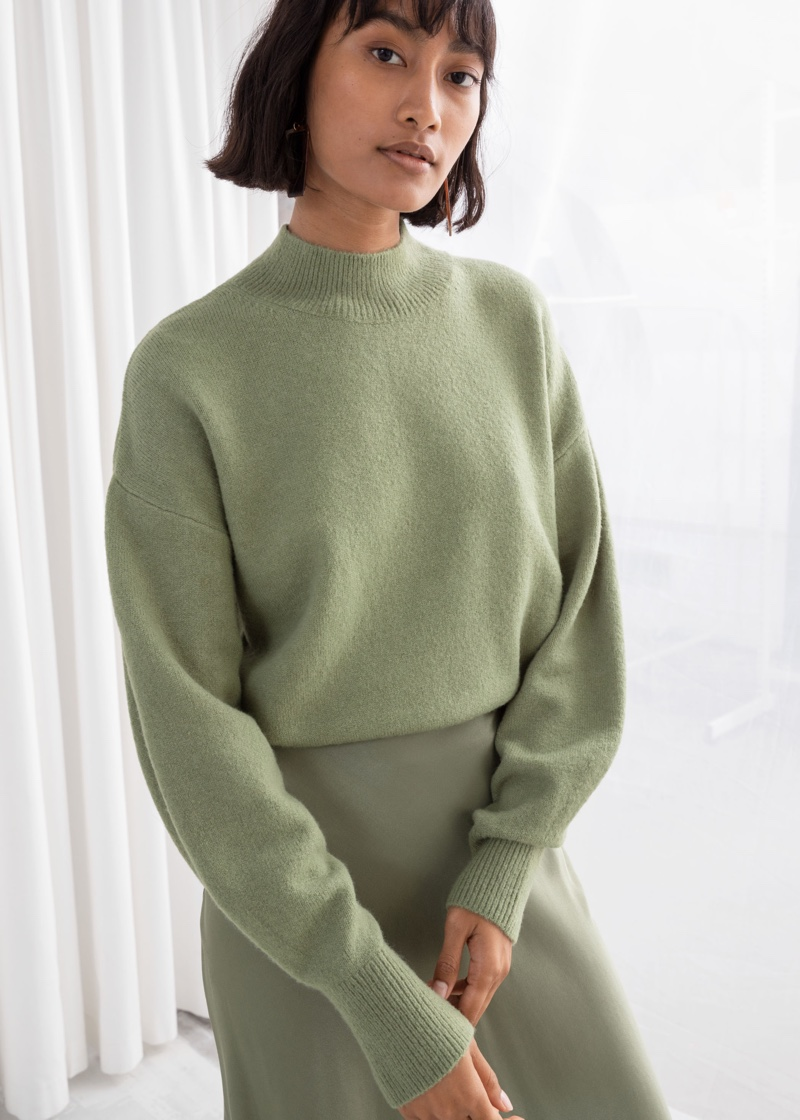 & Other Stories Mock Neck Sweater in Pistachio $49