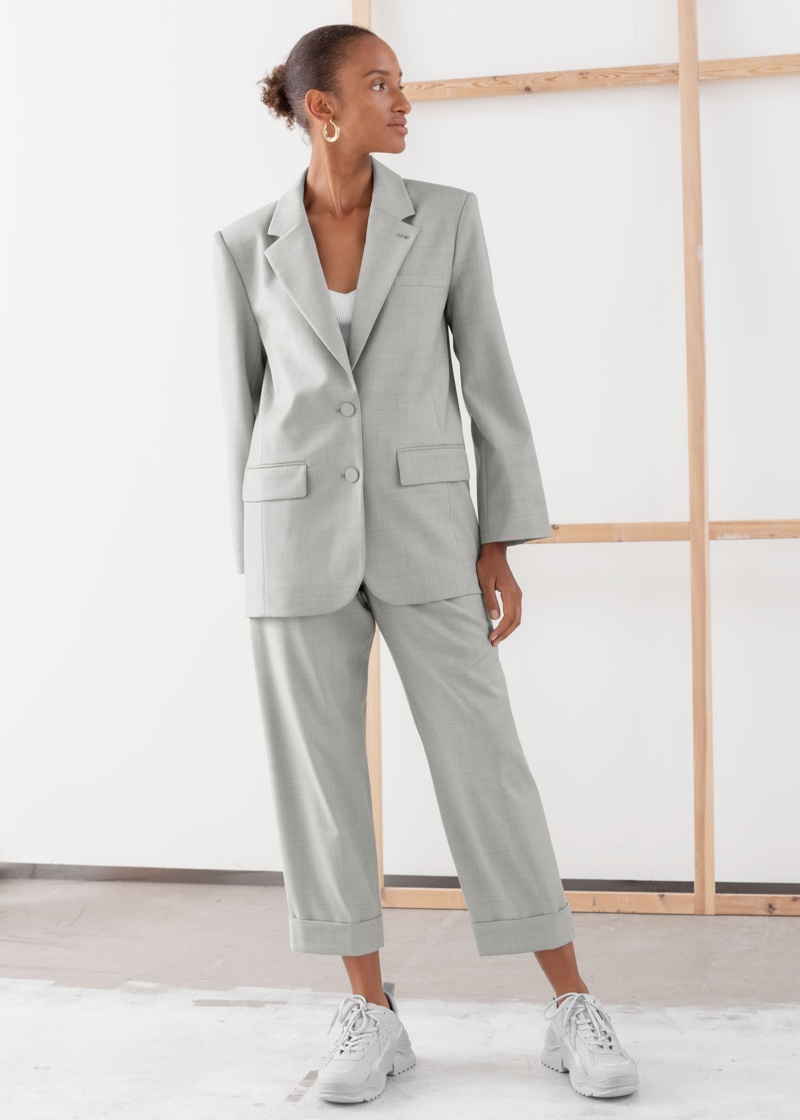 & Other Stories Oversized Wool Blend Tailored Blazer $149 and Pleated Square Buckle Belted Trousers $99