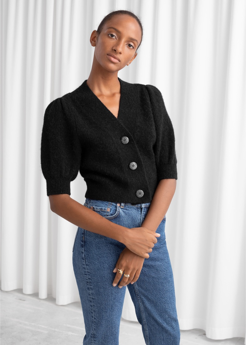 & Other Stories Puff Sleeve Wool Blend Cardigan in Black $89