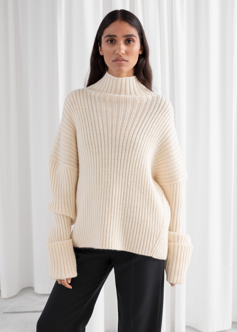 & Other Stories Slouchy Wool Blend Ribbed Turtleneck $129