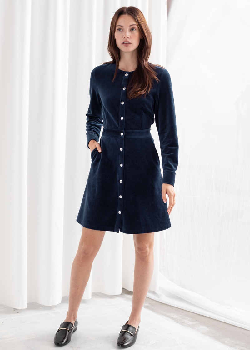 & Other Stories Velour Stud Button Mini Dress $89