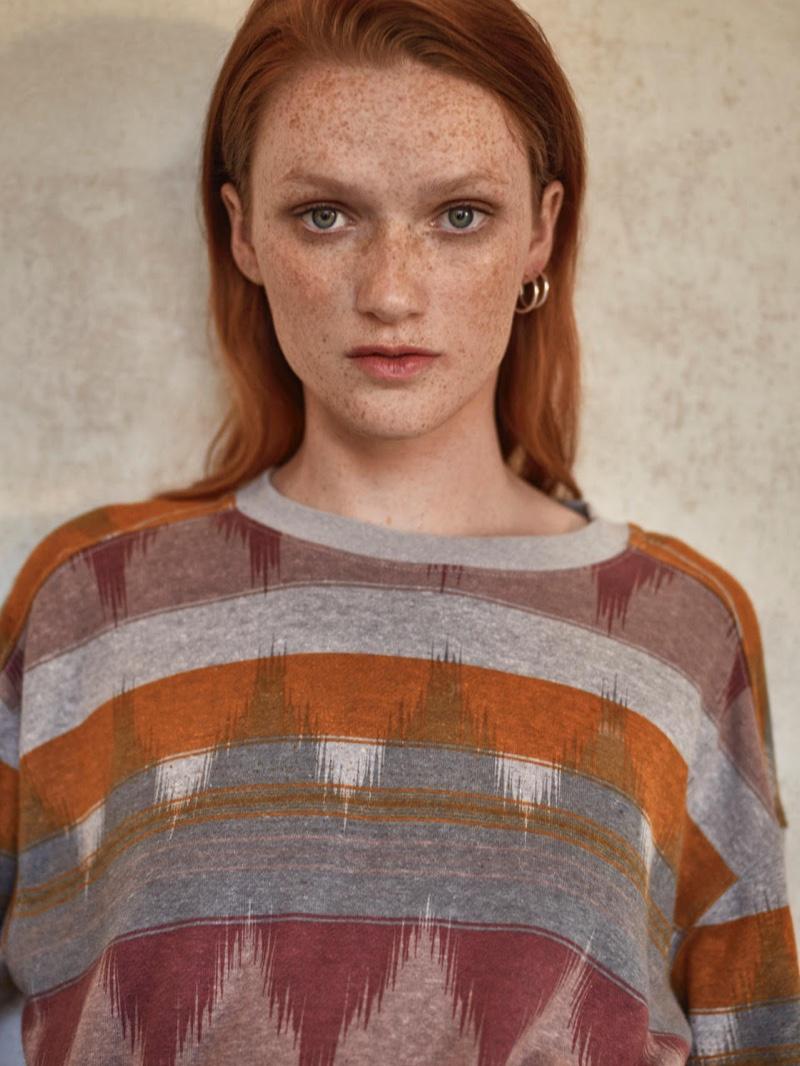 Emi Reed wears printed sweater in Prana fall-winter 2019 campaign