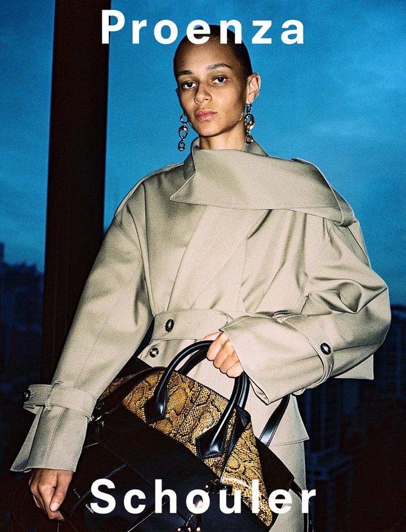 Model Binx Walton appears in Proenza Schouler fall-winter 2019 campaign