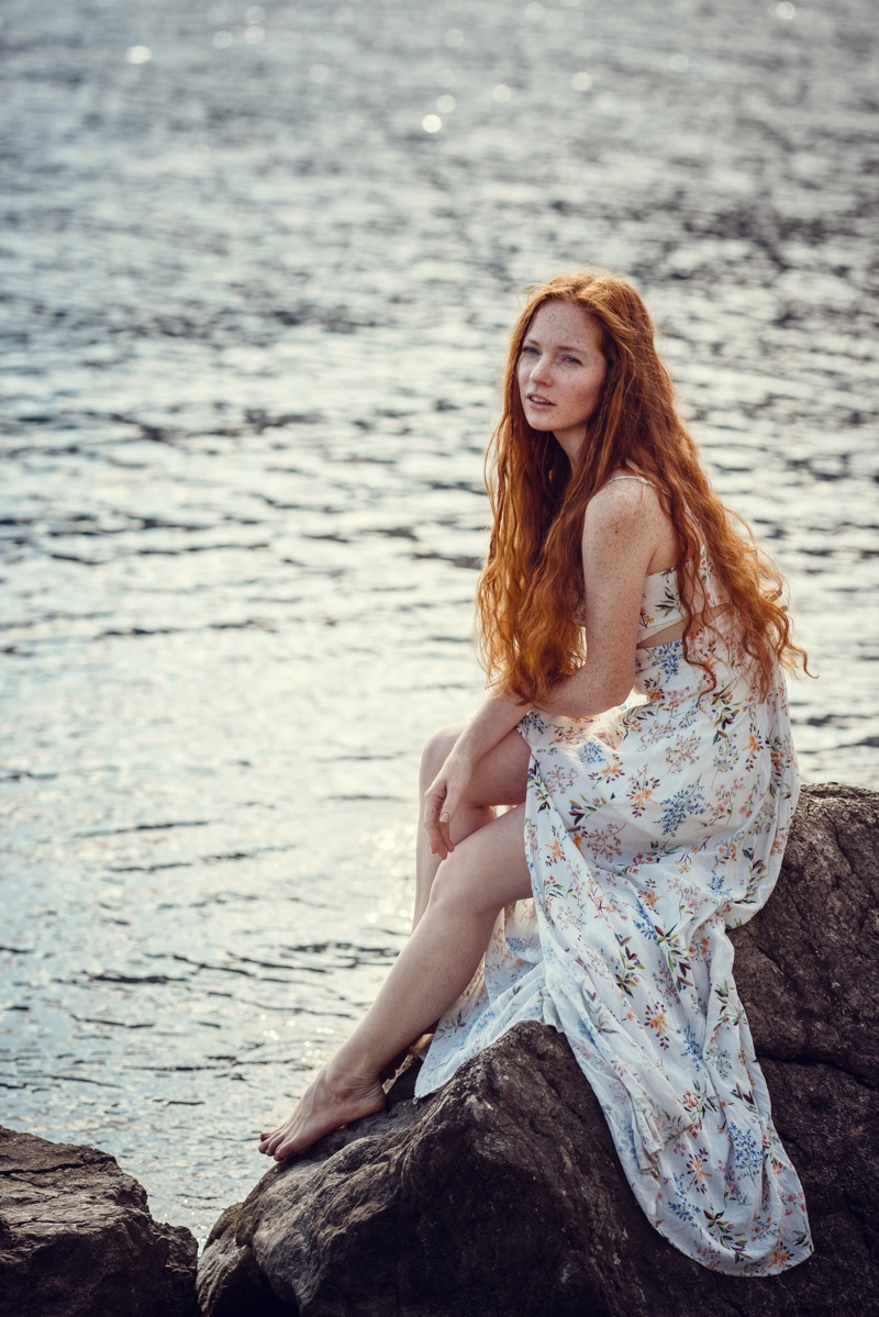 Redhead Model Bohemian Dress Style Beach