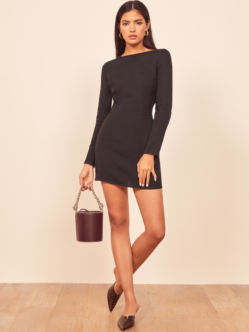 Reformation Cady Dress in Black $178