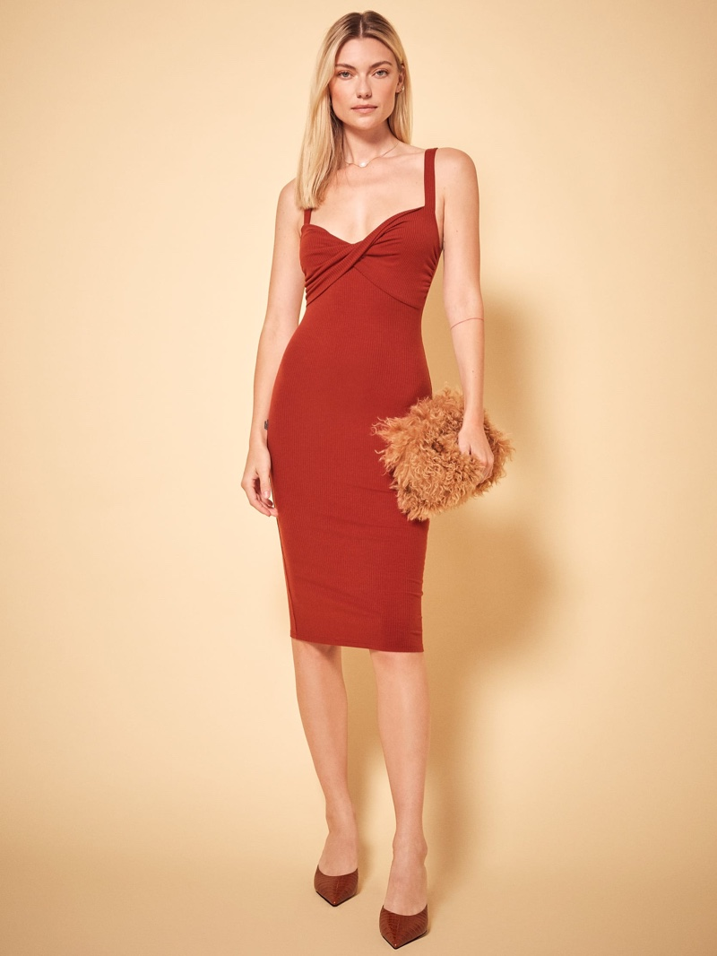 Reformation Geller Dress in Terracotta $118