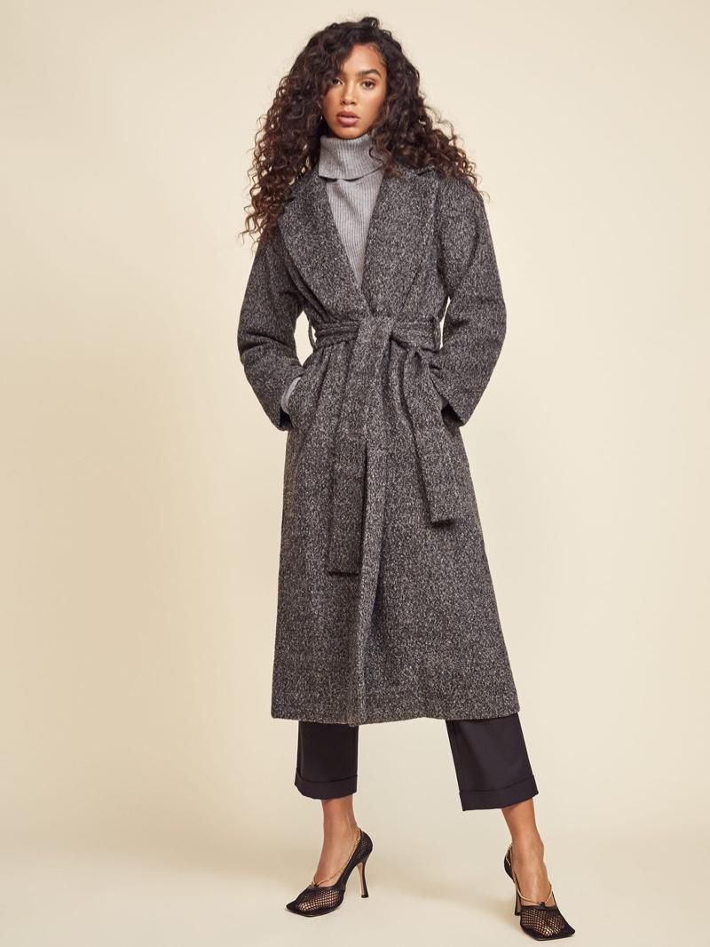 Reformation Gooding Coat in Dark Grey $288