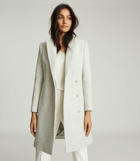 Reiss Evie Blend Mid Length Overcoat in Pale Grey $620