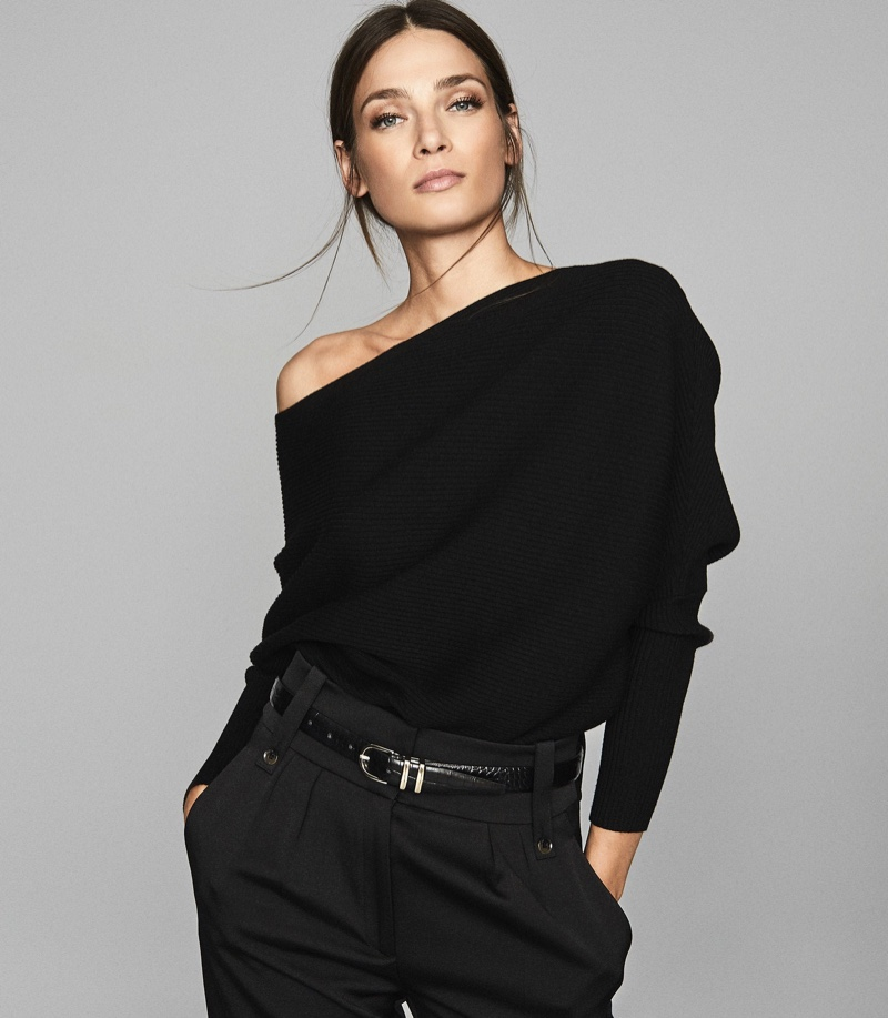 Reiss Lorna Asymmetric Knitted Top in Black $240