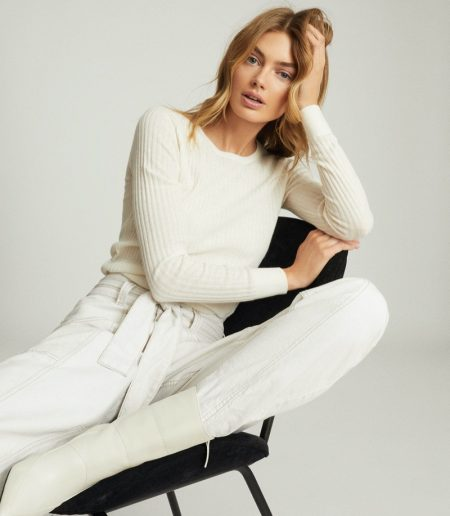 Reiss Michelle Crew Neck Knitted Top in Cream $180
