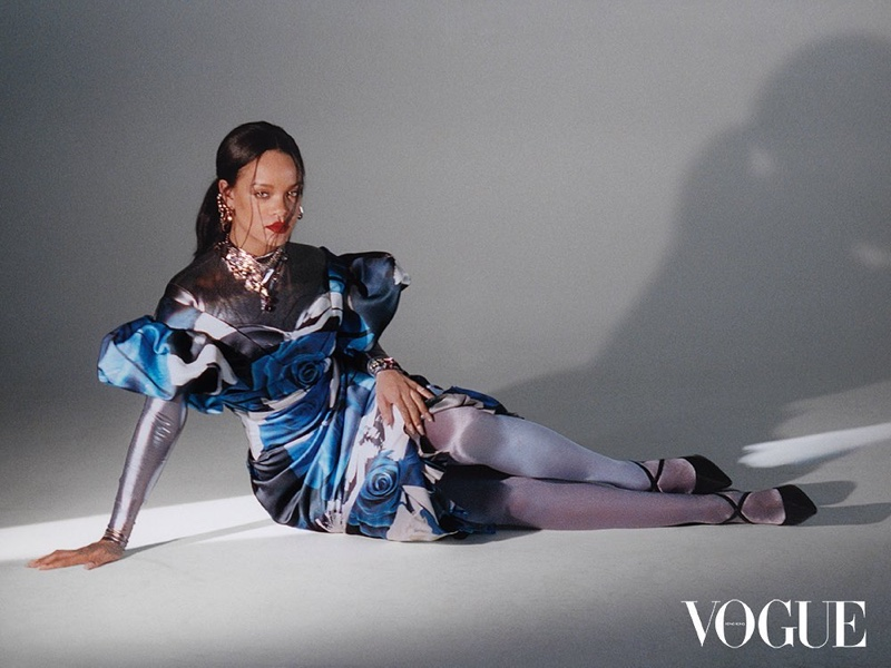 Striking a pose, Rihanna wears Alexander McQueen dress