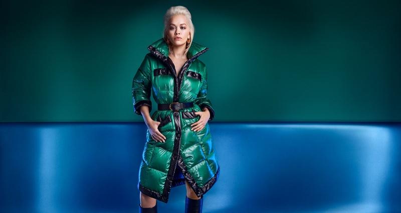 Singer Rita Ora poses in Escada Sport coat for fall-winter 2019