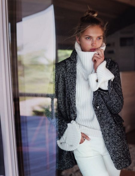 Romee Strijd Layers Up in Elegant Knitwear for ELLE Italy