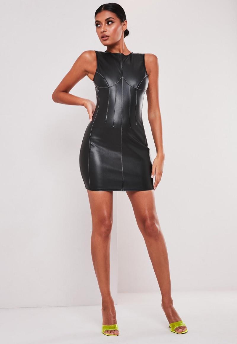 Sofia Richie x Missguided Faux Leather Contrast Seam Mini Dress $54
