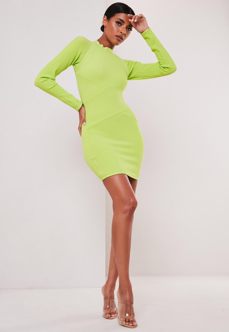 Sofia Richie x Missguided Neon Yellow Bandage Rib Mini Dress $68