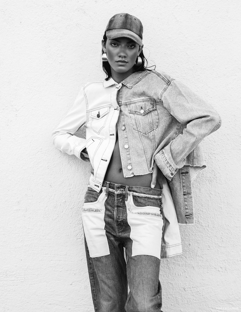 White Jacket BP, Denim Jacket Topshop, Cap Melrose and Market, Jeans Helmut Lang and Jewelry stylist's own. Photo: IJfke Ridgley