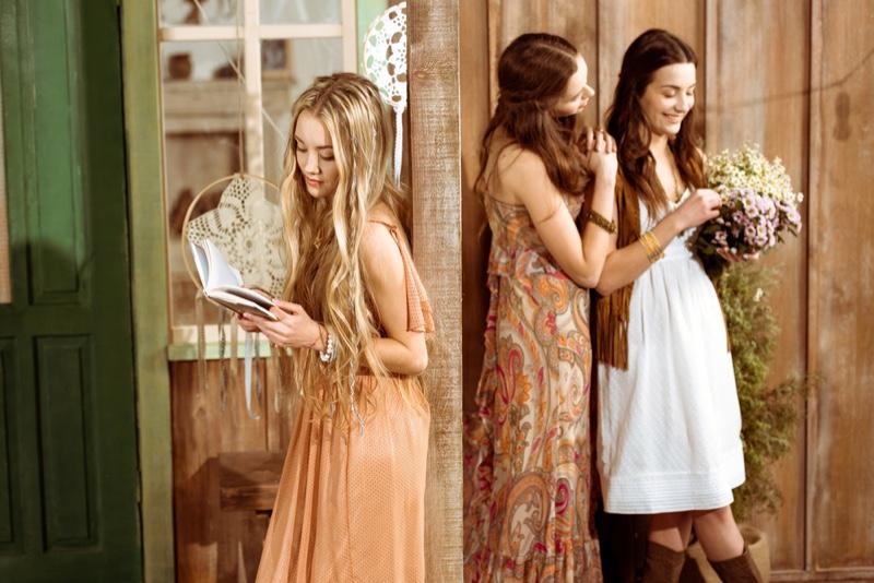 Three Girls Bohemian Style Fashion Long Hair Dresses Florals