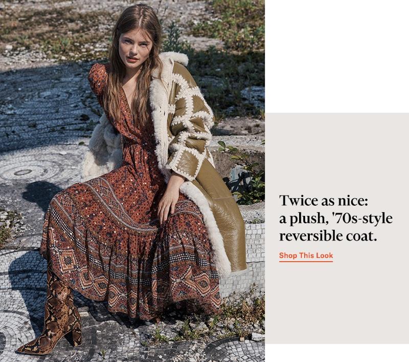 Ulla Johnson Alessandra Dress $695, Ellaria Coat $3,350 and Jerri Boots $795