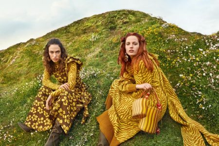 Julia Banas and Sophie Koella pose in England for Ulla Johnson fall-winter 2019 campaign