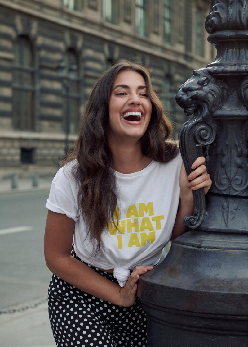Model Lorena Duran is all smiles in Violeta by Mango fall-winter 2019 lookbook
