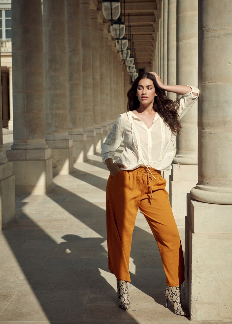 Violeta by Mango Decorative Embroidery Blouse, Flowy Baggy Pants and Snake-Effect Ankle Boots
