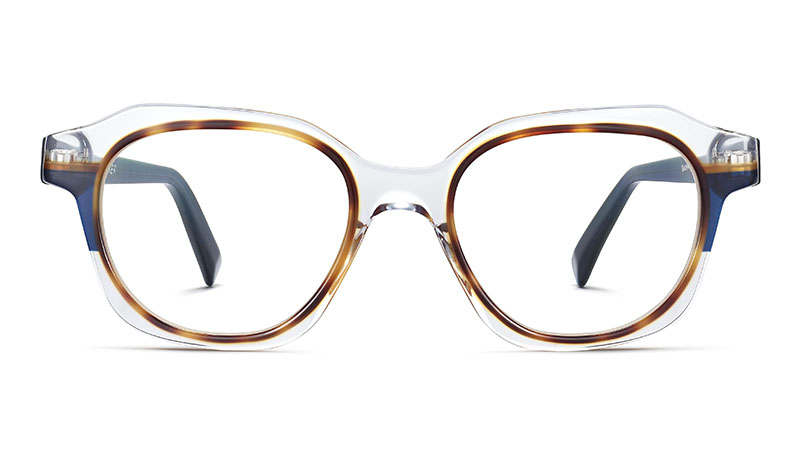 Warby Parker Darrow Glasses in Crystal with Oak Barrel and Blue Bay $195
