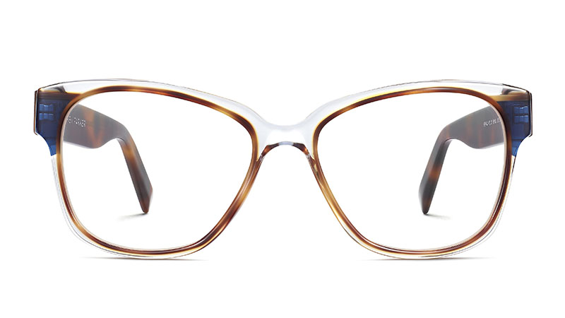 Warby Parker Francis Glasses in Crystal with Oak Barrel and Blue Bay $195