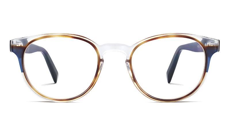 Warby Parker Percey Glasses in Crystal with Oak Barrel and Blue Bay $195