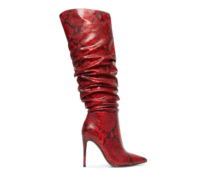 Winnie Harlow x Steve Madden Harlow Red Snake Boot $159.95