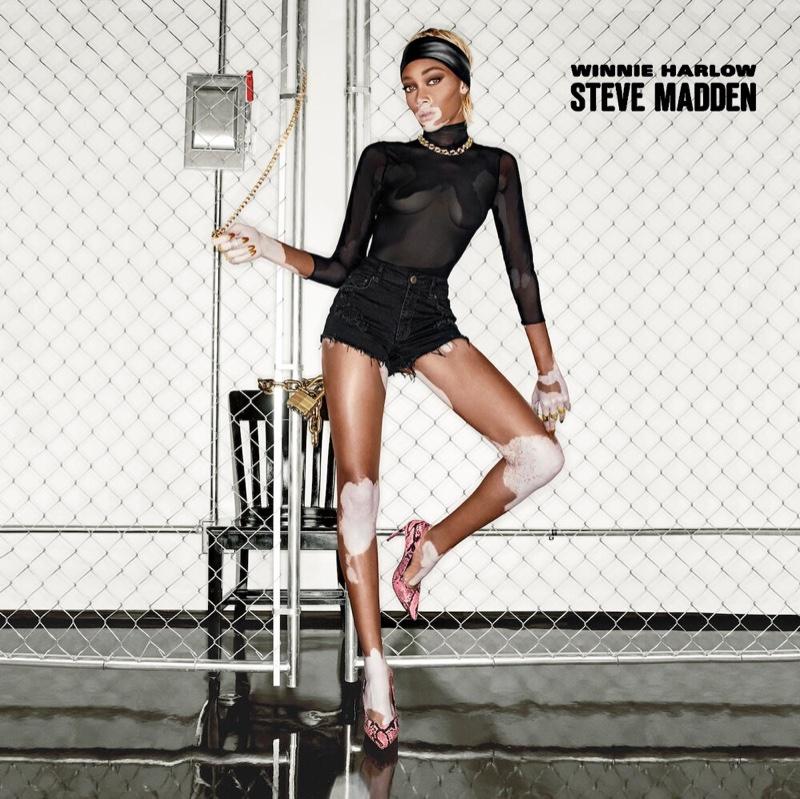 Model Winnie Harlow wears pumps from Steve Madden collaboration