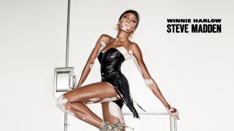Striking a pose, Winnie Harlow models Steve Madden shoe collaboration