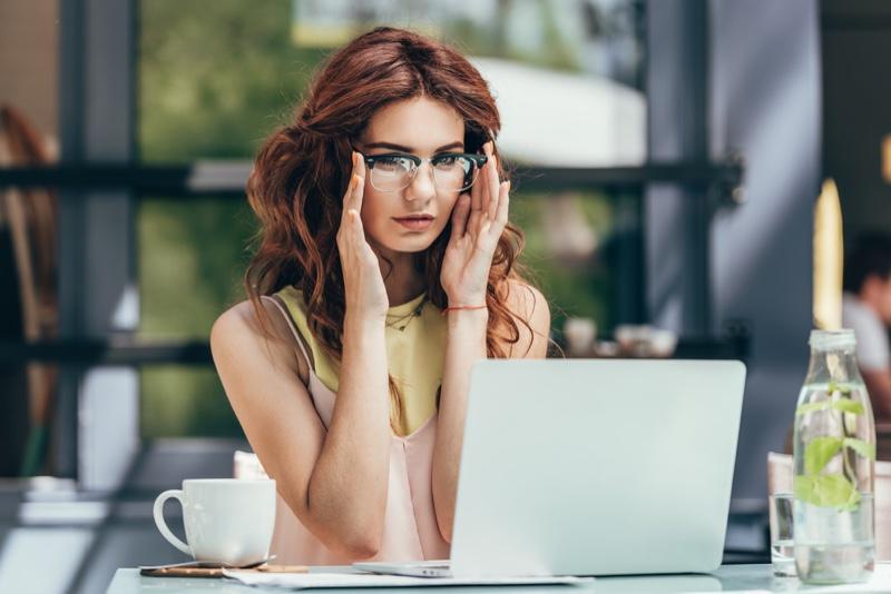 Woman Fashion Blogger Glasses Laptop Cafe