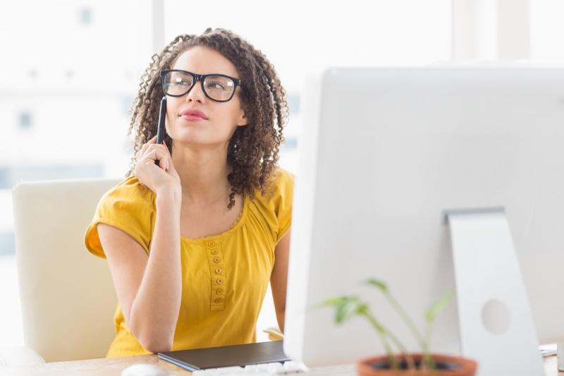 Woman Glasses Yellow Shirt Office Mixed Race