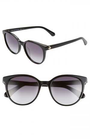 Women's Kate Spade New York Melanie 52Mm Polarized Round Sunglasses - Black/ Dkgrey Gradient