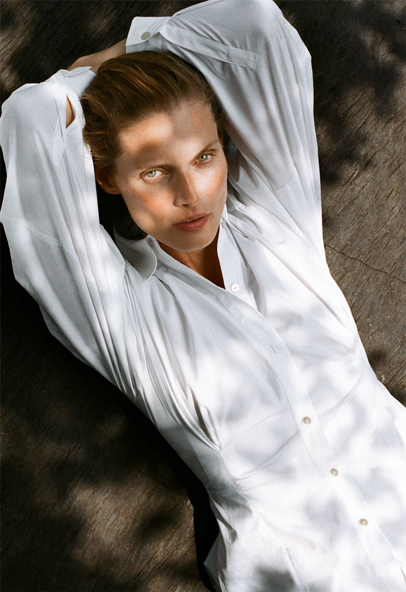 Malgosia Bela wears Zara Join Life cotton shirt