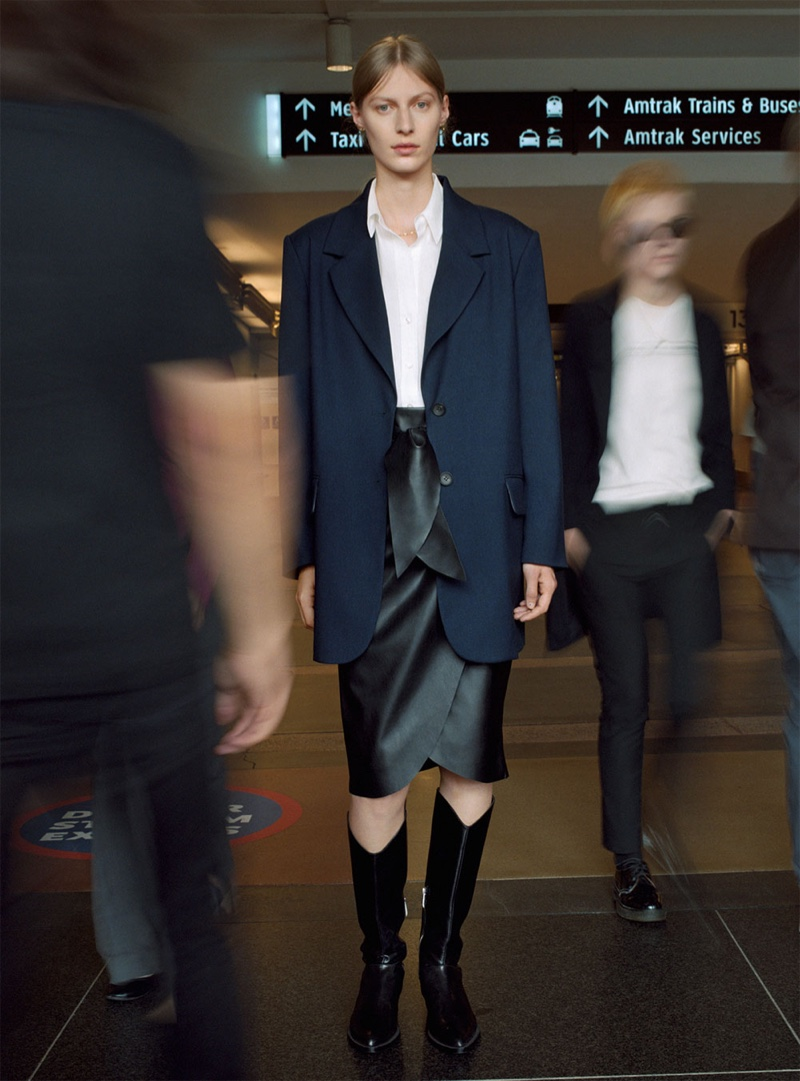 Zara Navy Blazer, White Collared Shirt and Faux Leather Skirt